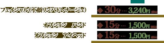 フェイシャル(小顔リンパドレナージュ)30分3240円 ハンド15分1500円 アイヘッド15分1500円